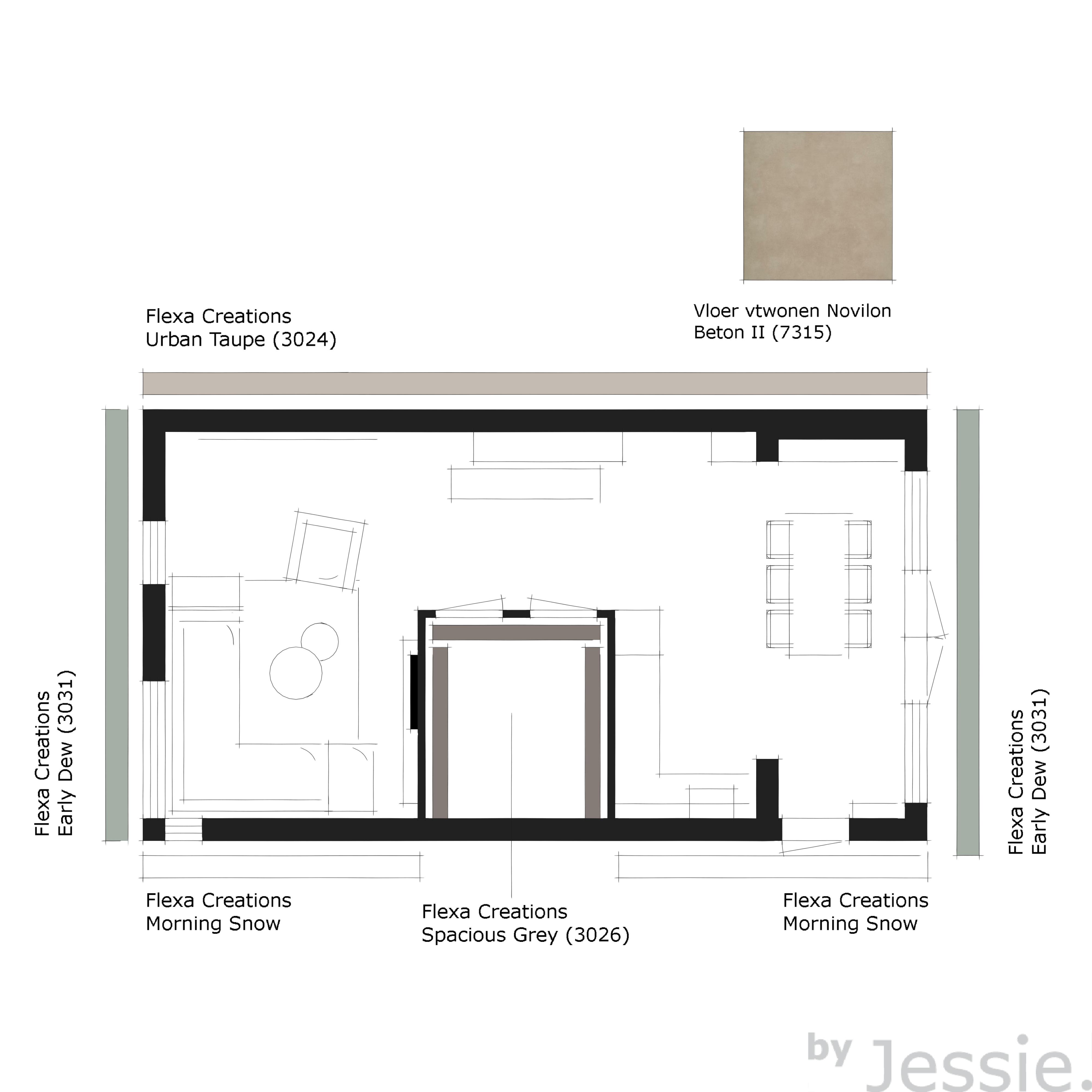 Portfolio byJessie. Woonhuis Aalten Kleurenplan